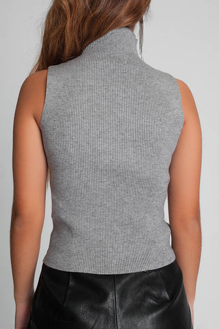 Ribbed Knit Sleeveless Sweater With High Neck in Gray Color