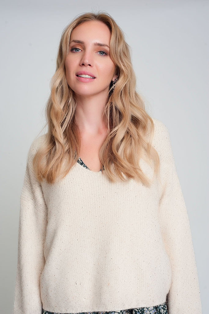 Wide Sleeve Sweater in Beige Ribbed Knit