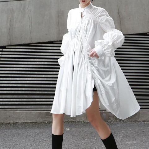 Glamaker Batwing Sleeve White Mini Dress Women Office Lady Pleated Black Shirt Dress Summer High Waist Slim Elegant Short Dress