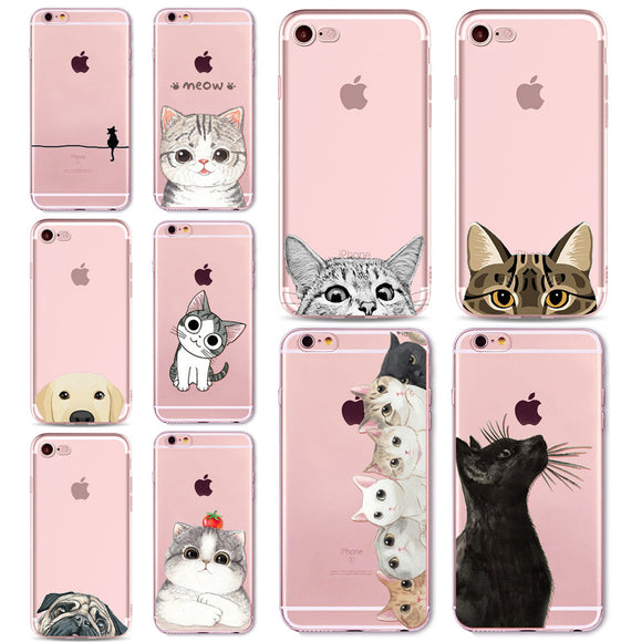 Cute Cat Dog Case Cover For Apple iPhone 7 8 7Plus 6 6s Plus 6Plus 5 5s SE Transparent Soft Silicone Cell Phone Cases Bag Capa