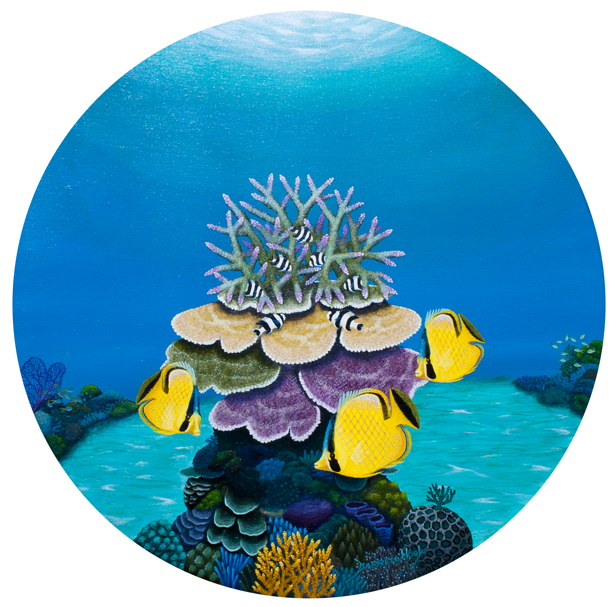 Three's a Crowd - Original Porthole Canvas by Darrell Hook