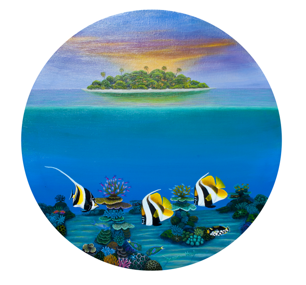 Daybreak in the Tropics- Original Circular Canvas by Darrell Hook