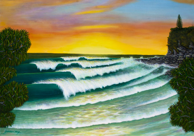 Moffat Beach Sunrise - Original Acrylic by Darrell Hook