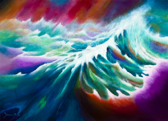 Oma's Fury - Abstract Original painting of Turbulent oceans