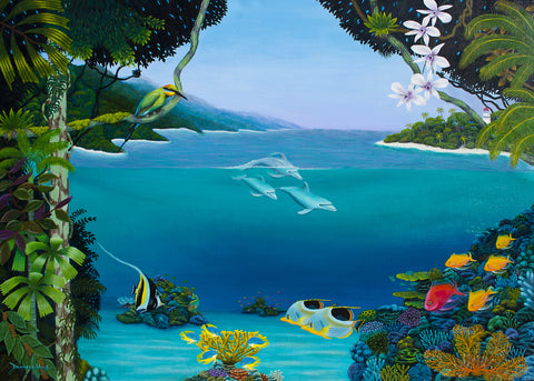 Racoon and Moorish Idols at Sunrise - Original Acrylic on Canvas by Darrell Hook