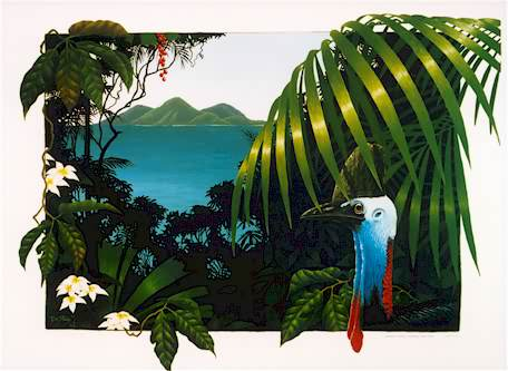 Cassowary  Print of Tropical North Queensland Rainforest & Cassowary