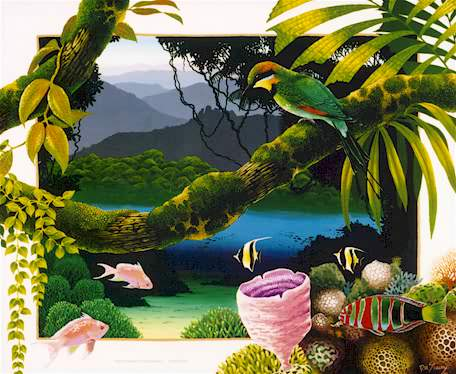 Reef Meets Rainforest - Large Print by David Stacey