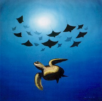 Approaching Invaders - L/E Print of Green Turtle and Eagle Rays