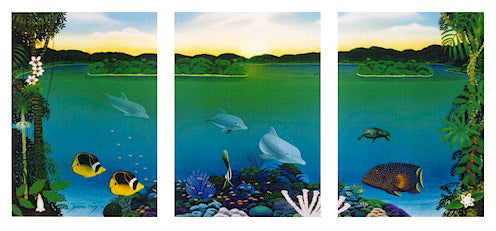 Sunrise In Paradise -  L/E Triptych Print by Darrell Hook