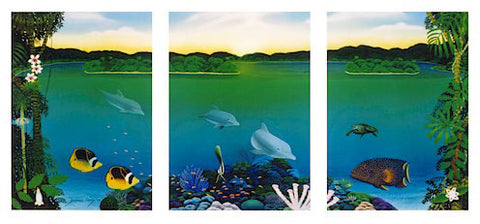 Barrier Reef Dolphins - Print - Family of Dolphins on the Reef