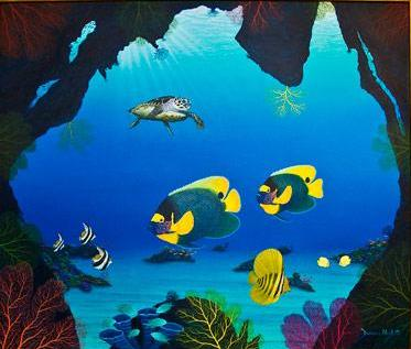 Bat Fish Cavern- Underwater Original Acrylic by Darrell Hook