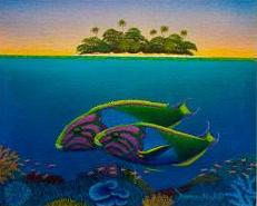 Sunset Wrasse - Original Acrylic on Rag Paper by Darrell Hook