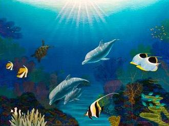 Dolphin Friends - Original Acrylic on rag paper by Darrell Hook