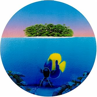 Angel in Paradise, Angel Fish below a tropical island on the Great Barrier Reef, porthole print, diameter 280mm / 11 inches