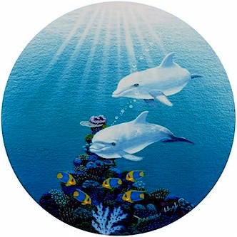 Dolphin Domain - Port Hole Print by Darrell Hook