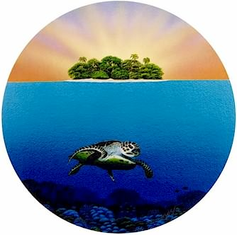 Turtle Sunrise - Port Hole Print by Darrell Hook