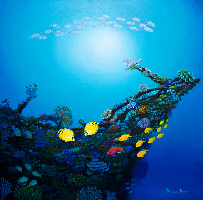 An Acrylic painting of an old shipwreck on the Reef