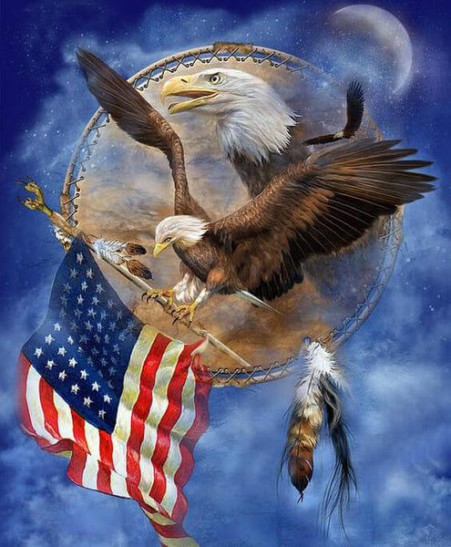 Diamond Painting American Eagle Bearing Flag - OLOEE