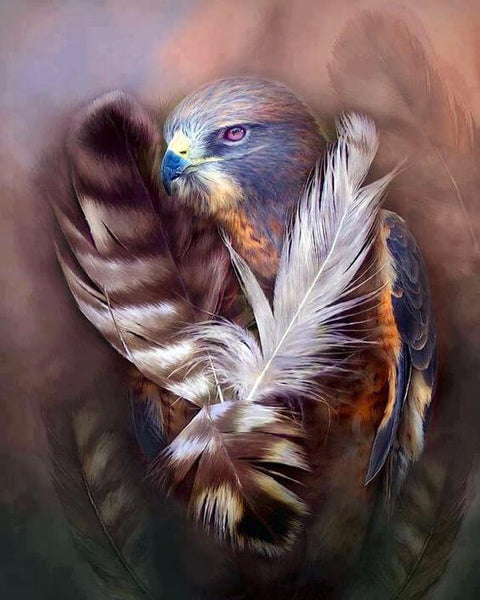 Diamond Painting Brave  Eagle Feather - OLOEE
