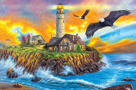 Diamond Painting Rising Eagle On Light House - OLOEE