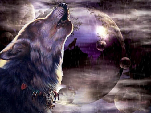 Diamond Painting Wolf Howling Under Moon - OLOEE