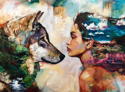 Diamond Painting Wolf and Woman - OLOEE