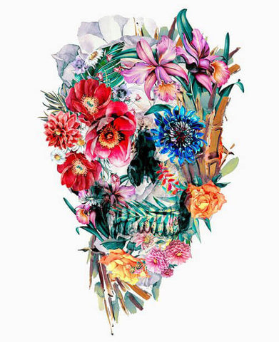 Diamond Painting Blue And Red Eyes Flower Skull - OLOEE