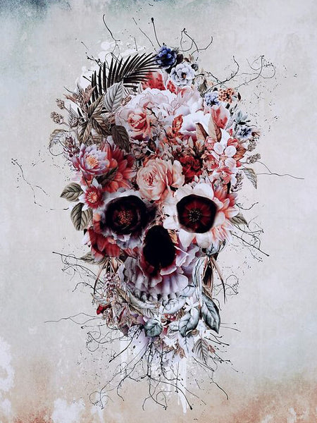Diamond Painting Red Flower Skull - OLOEE