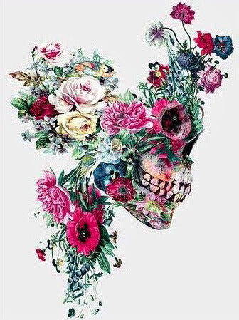 Diamond Painting Flower Hair Skull - OLOEE