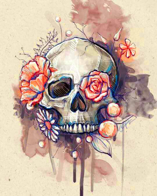 Water Color Floral Skull | 5D Diamond Painting Kits | OLOEE
