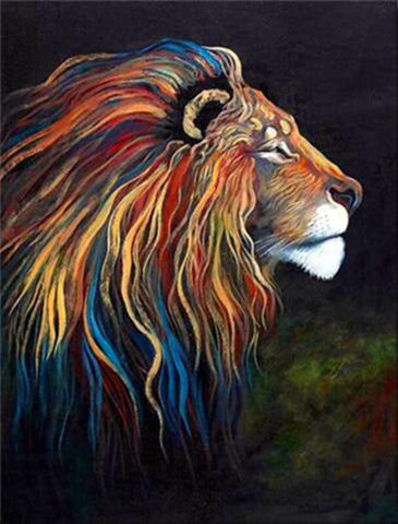 Diamond Painting Colorful Fearless Lion - OLOEE