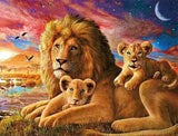 Diamond Painting Affectionate Father Lion And Cubs - OLOEE