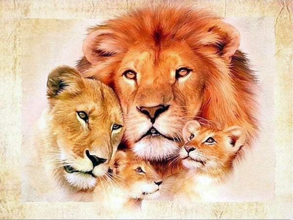 Diamond Painting Sweet Lion family - OLOEE