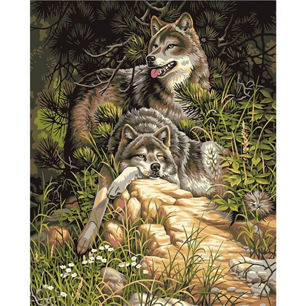 Diamond Painting Two Wolves - OLOEE