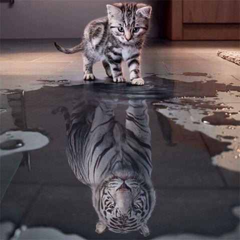 Diamond Painting Cat Tiger Reflection - OLOEE