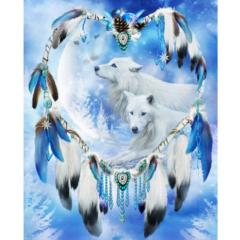 Diamond Oloee White Wolf Dream Catcher - OLOEE