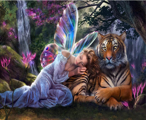 Diamond Painting Angel Girl And  Tiger - OLOEE