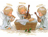 Diamond Painting Cute Little Angel Girls Playing Harp And Violin - OLOEE