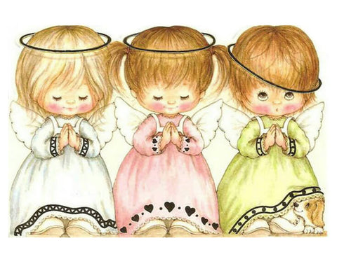 Diamond Oloee Three Little Angel Girls Praying - OLOEE