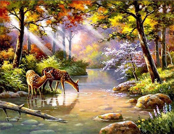 Diamond Painting Trees River Animal Landscape - OLOEE