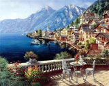 Diamond Painting Houses Blue Water Landscape - OLOEE
