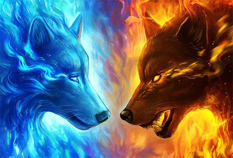 Diamond Painting Snow Wolf And Fire Wolf - OLOEE