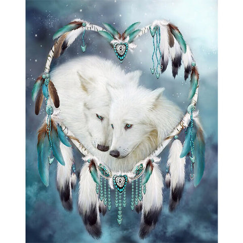 Diamond Painting Lovely White Couple Wolf - OLOEE