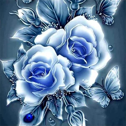 Diamond Painting Blue Rose Love - OLOEE