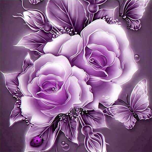 Diamond Painting Purple Crystal Rose Flower - OLOEE