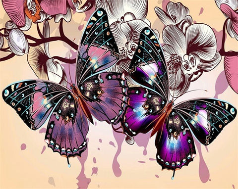 Diamond Painting Diamond Oloee  Purple Butterfly - OLOEE