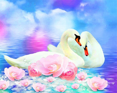 Diamond Painting Couple White Swan - OLOEE