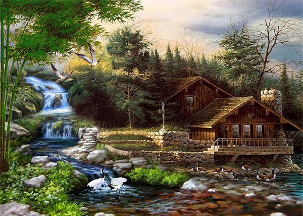 Diamond Painting Native House By The Waterfalls - OLOEE