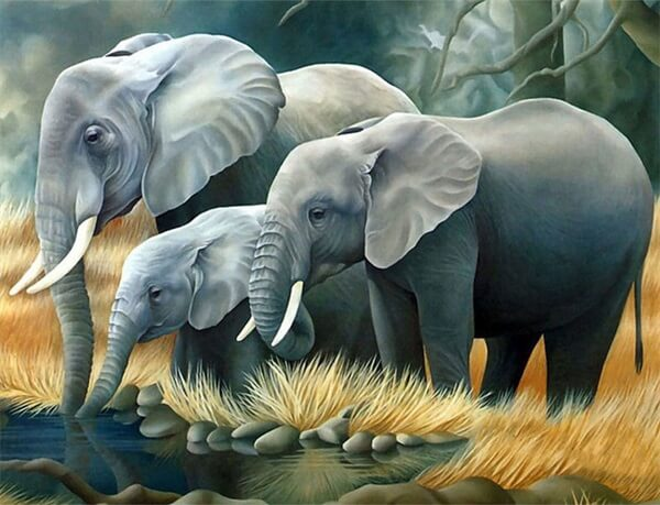 Diamond Painting A Family Of Elephants - OLOEE