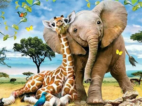 Diamond Painting A Giraffe And A Elephant - OLOEE